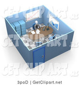 3d Clip Art of a Busy Boss or Manager Businessman in a Suit and Tie, Seated at a Desk and Doing Paperwork Inside His Private Office Space with Filing Cabinets and Charts and Graphs on the Walls by 3poD