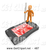 3d Clip Art of a Busy Orange Person Holding a Pen and Scheduling an Appointment on His Black Palm Pilot While Standing on It by 3poD