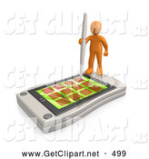 3d Clip Art of a Busy Orange Person Holding a Pen and Scheduling an Appointment on His White Palm Pilot While Standing on It by 3poD