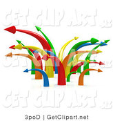 3d Clip Art of a Chaotic Mess of Many Colorful Arrows Going in Multiple Directions Symbolizing Confusion or Traffic by 3poD