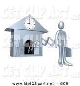 3d Clip Art of a Chrome Businesman in a Suit, Holding a Briefcase and Sticking out from an Arm of a Cuckoo Clock upon the Hour of 9am, Symbolising the Start of a New Work Day, or Punctuality by 3poD