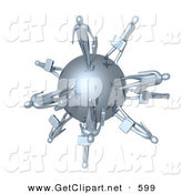 3d Clip Art of a Chrome Business People Carrying Briefcases and Walking on the Planet Earth, Symbolizing Travel or Worldwide Business by 3poD