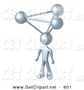 3d Clip Art of a Chrome Employee with Atoms on His Head, Symbolizing a Genius, Ideas, Crativity and Brainstorming by 3poD