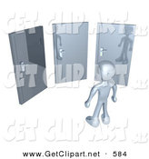3d Clip Art of a Chrome Figure Standing in Front of Three Different Doors, Symbolizing Different Paths to Take for Job Opportunities or Life Choices by 3poD