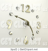 3d Clip Art of a Chrome or Silver Office Wall Clock with Brass Numbers, the Hands Pointing at 10 Minutes to 5 by 3poD