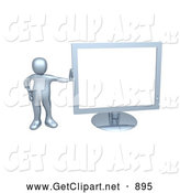 3d Clip Art of a Chrome Person Leaning Against a Chrome Flat LCD Computer Screen Monitor by 3poD
