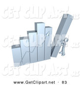 3d Clip Art of a Chrome Person Pushing up the Last Column on a Bar Graph Chart, Symbolizing Effort and Success by 3poD