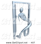 3d Clip Art of a Chrome Person Twisted Around the Frame of an Open Door, Symbolizing Lonliness, Split Personalities, Uncertainty, and an Egotistical Person by 3poD