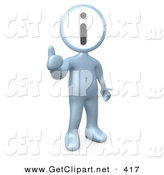 3d Clip Art of a Chrome Person with an I for Information Head Giving the Thumbs up by 3poD