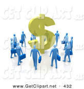 3d Clip Art of a Circling Group of Blue Businesspeople Surrounding a Giant Golden Dollar Symbol by 3poD