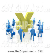 3d Clip Art of a Circling Group of Blue Businesspeople Surrounding a Giant Golden Yen Symbol by 3poD