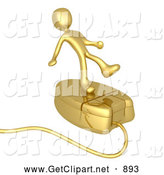 3d Clip Art of a Clumsy Gold Person Trying to Maintain His Balance While Riding on a Golden Computer Mouse and Surfing the Internet by 3poD