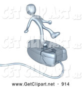3d Clip Art of a Clumsy Silver Person Trying to Maintain His Balance While Riding on a Chrome Computer Mouse and Surfing the Internet by 3poD