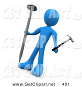 3d Clip Art of a Confused Blue Man Holding a Large Nail and a Tiny Hammer, Trying to Accomplish a Difficult Task by 3poD