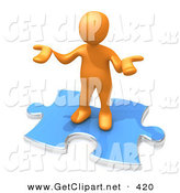 3d Clip Art of a Confused Orange Person Holding Their Hands out Because They Aren't Sure What to Do About Seo and Link Exchanges to Market Their Site on White by 3poD