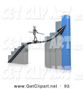 3d Clip Art of a Corporate Businessman Balancing While Walking on an Increase Black Arrow on a Silver and Blue Bar Graph Chart by 3poD