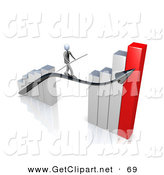 3d Clip Art of a Corporate Businessman Holding a Balance Beam While Walking on an Increase Black Arrow on a Silver and Red Bar Graph Chart on White by 3poD