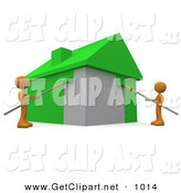 3d Clip Art of a Couple of Environmentally Concerned Orange People Using Roller Brushes to Paint a Home Green, Symbolizing Upgrading a Home to Be More Energy Efficient by 3poD