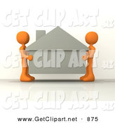 3d Clip Art of a Couple of Orange People Carefully Moving a House to a New Location on White by 3poD