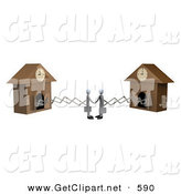 3d Clip Art of a Couple of White Businessmen Sticking out from Arms of Cuckoo Clocks, Shaking Hands upon Agreement of a Deal by 3poD