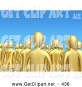 3d Clip Art of a Creepy Crowd of Gold People Standing Tall Together in a Group Against a Blue Sky Background, Symbolizing Unity and Teamwork by 3poD