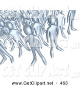 3d Clip Art of a Creepy Crowd of Silver People Standing Together, Symbolizing Teamwork and Unity by 3poD