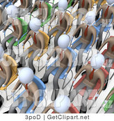 3d Clip Art of a Crowd of Businessmen Seated in Chairs During a Meeting or Seminar by 3poD