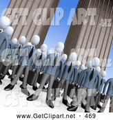 3d Clip Art of a Crowd of Businessmen Standing Together in Front of Tall Office Building Skyscrapers, Symbolizing Teamwork or Cloning, Look Alikes by 3poD