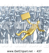 3d Clip Art of a Crowd of Chrome Businessmen Lifting a Gold Man up High, Symbolizing Celebration, Praise and Success by 3poD