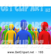 3d Clip Art of a Crowd of Colorful Diverse People by 3poD