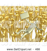 3d Clip Art of a Crowd of Golden Businessmen Lifting a Man up High, Symbolizing Celebration, Praise and Success by 3poD