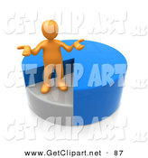 3d Clip Art of a Curious Orange Man Shrugging and Standing in a Sinking Spot of a Blue Pie Chart by 3poD