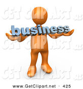 3d Clip Art of a Curious Orange Person Holding a Blue Business Sign by 3poD