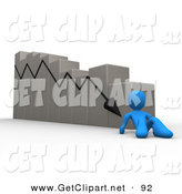 3d Clip Art of a Depressed Blue Person Lying at the Bottom of a Declining Bar Graph by 3poD