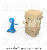 3d Clip Art of a Desperate Blue Man on a Restricted Diet, Kneeling and Begging in Front of a Refrigerator That Is Chained and Locked by 3poD