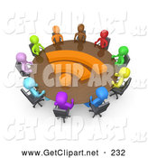 3d Clip Art of a Diverse Group of Business People of Different Colors Including Blue, Purple, Light Blue, Green, Orange, Brown, Yellow and Red, Seated at a Round Conference Table by 3poD