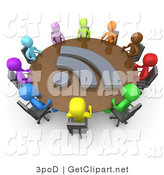 3d Clip Art of a Diverse Group of Colorful Business People Seated at a Round Conference Table with a Blog Icon During a Business Meeting in an Office by 3poD