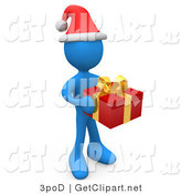 3d Clip Art of a Festive Blue Person in a Santa Hat, Carrying a Red and Gold Christmas Present to a Gift Exchange Party by 3poD
