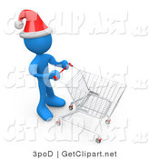 3d Clip Art of a Festive Blue Person Wearing a Santa Hat and Pushing a Shopping Cart Through a Store While Christmas Shopping by 3poD
