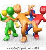 3d Clip Art of a Five Different Colored and Diverse People Dancing and Partying and Having Fun at a Party by 3poD