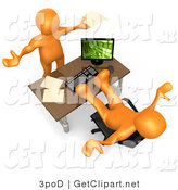 3d Clip Art of a Flustered Orange Co-Worker Employee Holding Their Arms up While Complaining to Their Lazy Boss or Colleague Who Is Relaxing at His Desk by 3poD