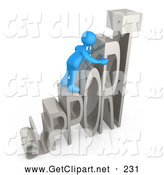 3d Clip Art of a Friendly Blue Person Climbing and Adjusting Letters Reading SUPPORT, Symbolizing Customer Service by 3poD