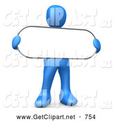 3d Clip Art of a Friendly Blue Person Holding a Blank White Oval Sign by 3poD