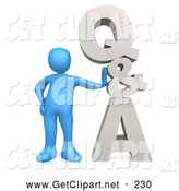 3d Clip Art of a Friendly Blue Person Leaning Against Q&A, Which Could Be Used As an Icon to Direct Web Customers to Questions and Answers by 3poD