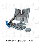 3d Clip Art of a Frustrated Blue Man Smashing a Flat Screen Computer Monitor with a Hammer by 3poD