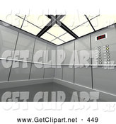 3d Clip Art of a Futuristic Gray Office Elevator by 3poD