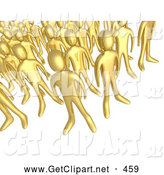 3d Clip Art of a Gathered Crowd of Gold People Standing Together, Symbolizing Teamwork and Unity by 3poD