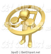 3d Clip Art of a Gold Guy with a Music Note Circle by 3poD