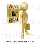3d Clip Art of a Gold High Paid Businessman with His Head Attached to a Lever That Is in Work Mode, Carrying a Briefcase by 3poD
