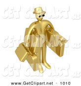 3d Clip Art of a Gold Male Tourist in a Hat and Sunglasses, Carrying Armloads of Heavy Luggage by 3poD
